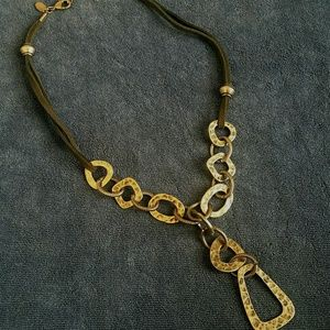 Lia Sophia Leather &  Hammered Metal Necklace